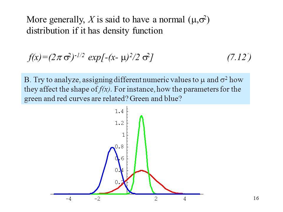 f(x)=(2 2)-1/2 exp[-(x- )2/2 2] (7.12')